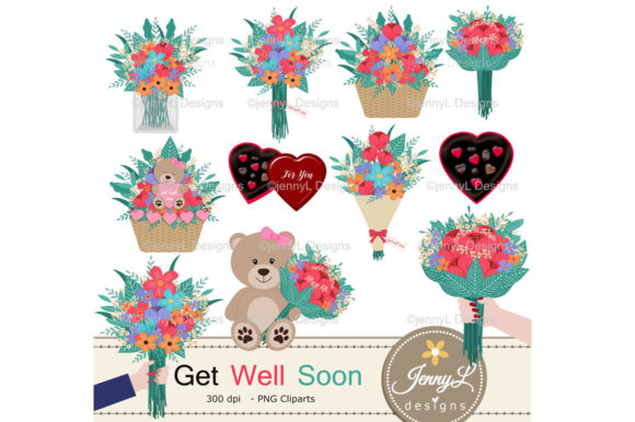 Download Free Get Well Soon Digital Papers And Clipart Graphic By for Cricut Explore, Silhouette and other cutting machines.