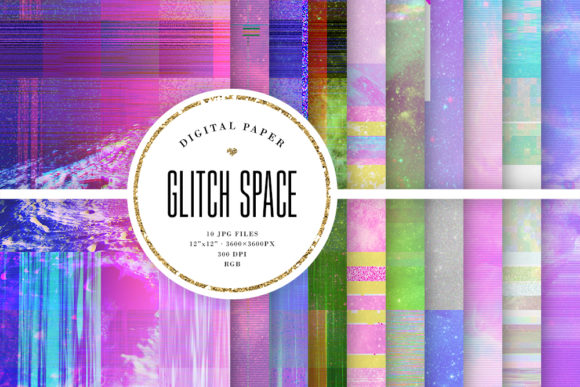 Print on Demand: Glitch Space Backgrounds Graphic Backgrounds By Sabina Leja