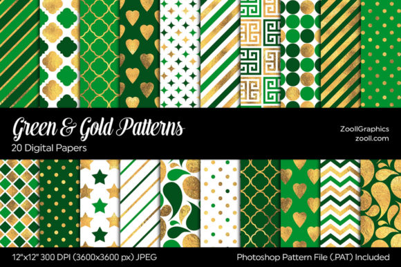 Download Free Green Gold Digital Papers Graphic By Zoollgraphics Creative for Cricut Explore, Silhouette and other cutting machines.