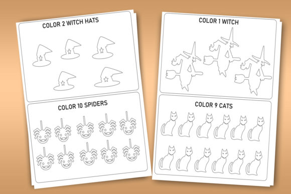 Download Free Halloween Count Color Activity Sheets Graphic By Happy for Cricut Explore, Silhouette and other cutting machines.