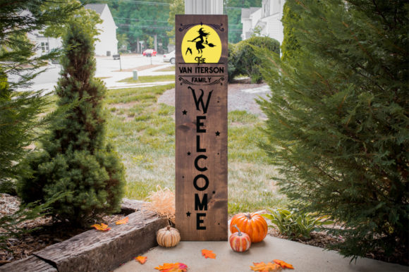 Download Free Halloween Monogram Front Porch Sign Graphic By Simply Cut Co for Cricut Explore, Silhouette and other cutting machines.