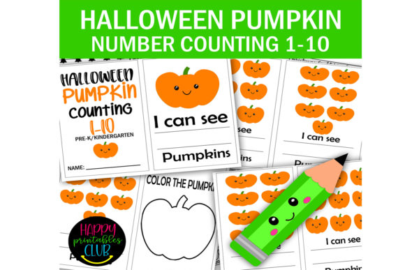 Print on Demand: Halloween Pumpkin Counting 1-10 Graphic K By Happy Printables Club