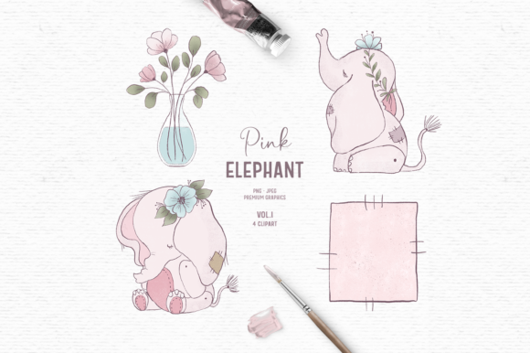 Print on Demand: Hand-drawn Baby Elephant Clipart in Pink Gráfico Ilustraciones Por Wallifyer