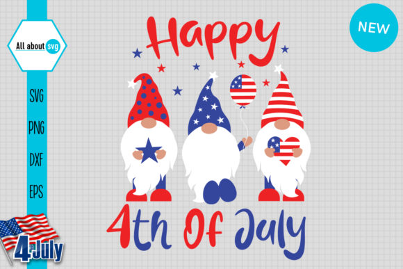 Download Free Happy 4th Of July Gnomes 4th July Graphic By All About Svg for Cricut Explore, Silhouette and other cutting machines.
