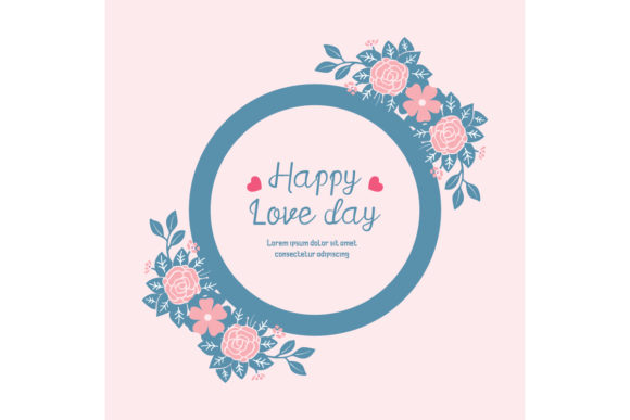 Download Free Happy Love Day Greeting Card Cute Design Graphic By Stockfloral for Cricut Explore, Silhouette and other cutting machines.