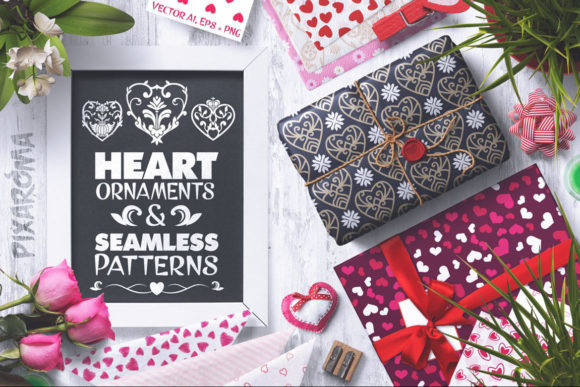 Heart Vector Ornaments and Patterns Graphic Illustrations By pixaroma
