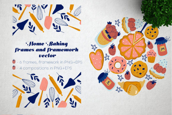 Print on Demand: Home Baking Vector  Frames and Framework Graphic Illustrations By By Anna Sokol