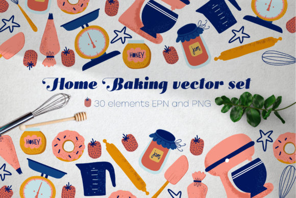 Print on Demand: Home Baking Vector Set Graphic Illustrations By By Anna Sokol