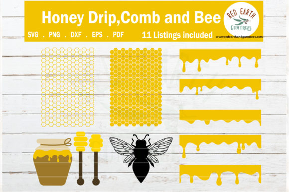 Download Free Honeycomb Bee Drip Template Graphic By Redearth And Gumtrees for Cricut Explore, Silhouette and other cutting machines.