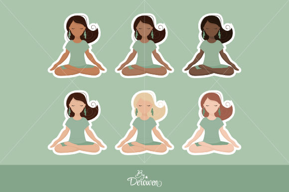 Download Free Illustrations Clipart Yoga Girl Green Graphic By Byderowen for Cricut Explore, Silhouette and other cutting machines.