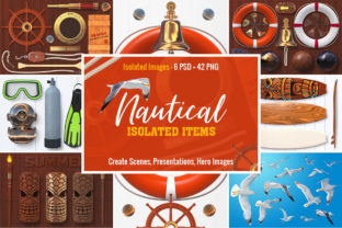 Isolated Nautical Items Graphic Objects By pixaroma