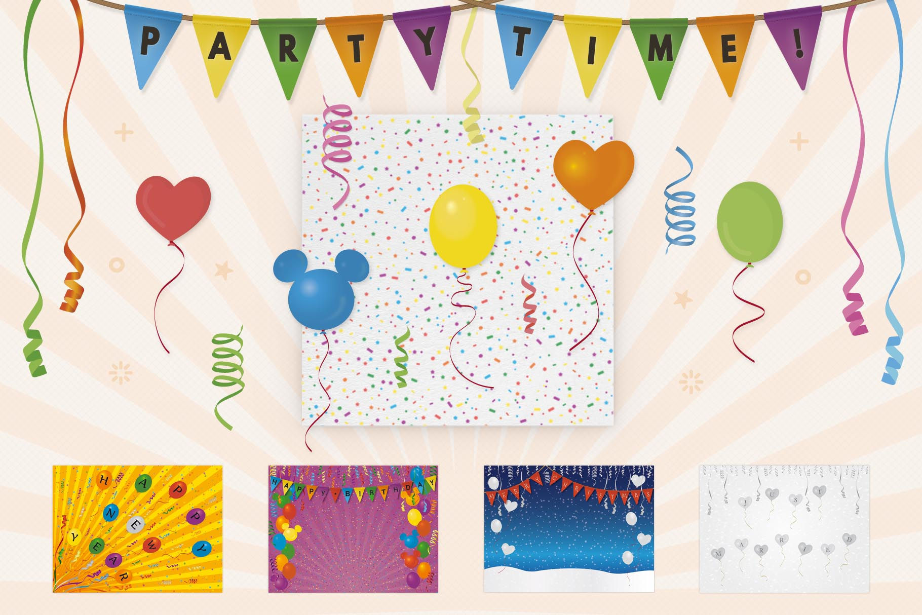 Download Free Kit Party Elements And Banners Graphic By Sargatal Creative for Cricut Explore, Silhouette and other cutting machines.