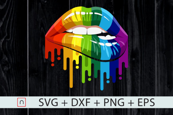 Print on Demand: LGBT Rainbow Colorful Dripping Lips Grafik Druck-Templates von Novalia