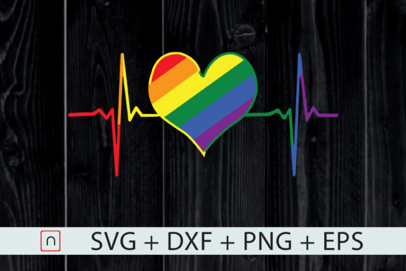Download Free Lgbtq Pride Heart Beat Pulse Rainbow Graphic By Novalia for Cricut Explore, Silhouette and other cutting machines.