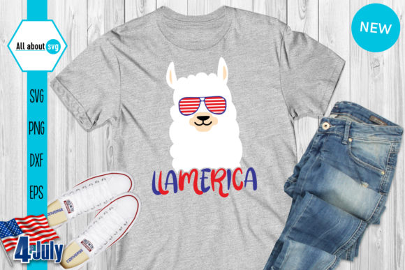 LLamerica, American Llama Graphic Crafts By All About Svg - Image 3