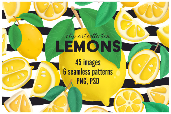 Download Free Lemons Clip Art Collection Graphic By Architekt At Creative for Cricut Explore, Silhouette and other cutting machines.