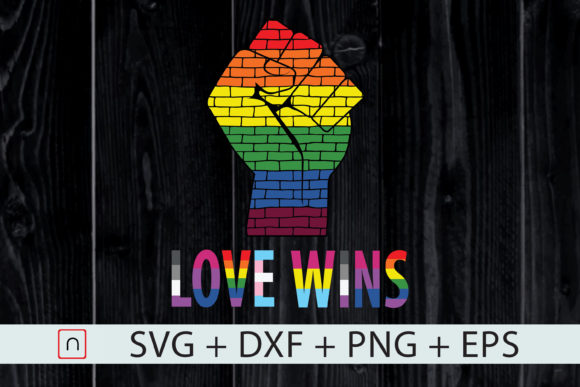 Download Free Love Wins Lgbt Bricks Raised Fist Graphic By Novalia for Cricut Explore, Silhouette and other cutting machines.