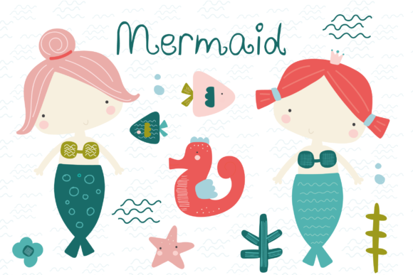 Print on Demand: Mermaid Clipart Graphic Illustrations By poppymoondesign