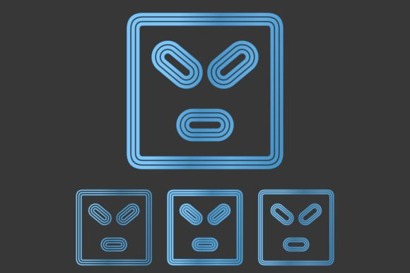Download Free Metallic Angry Face Logo Design Set Graphic By Davidzydd for Cricut Explore, Silhouette and other cutting machines.