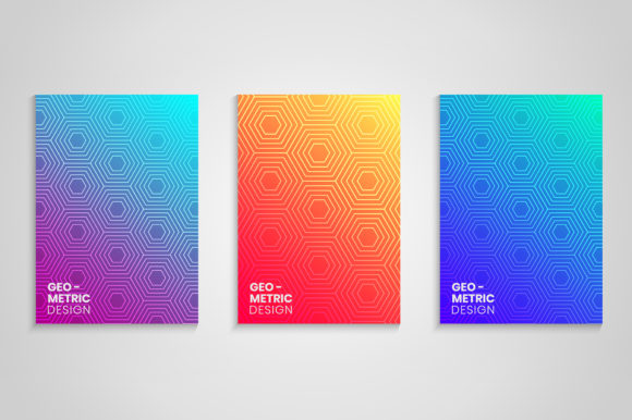 Minimal Geometric Gradient Cover Set Graphic Backgrounds By medelwardi