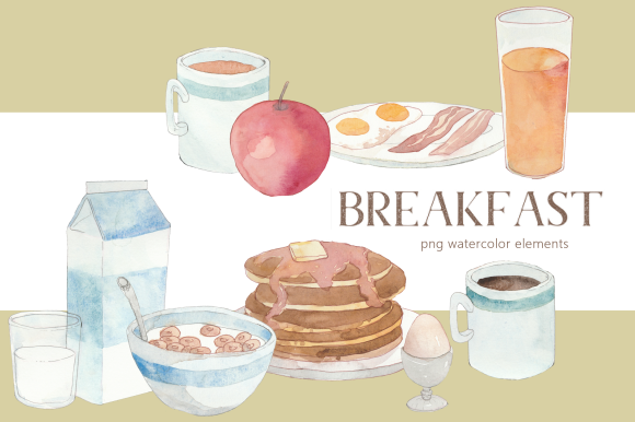 Print on Demand: Morning Breakfast Food Watercolor Set Graphic Illustrations By roselocket
