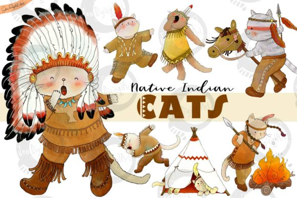 Native Indian Cats Graphic Illustrations By Jen Digital Art
