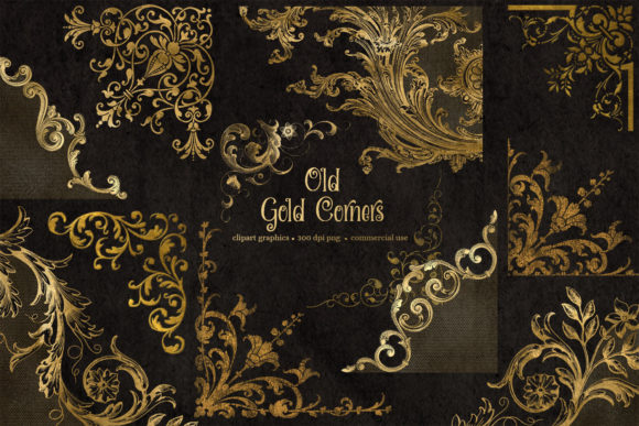 Print on Demand: Old Gold Corners Clipart Graphic Illustrations By Digital Curio - Image 1