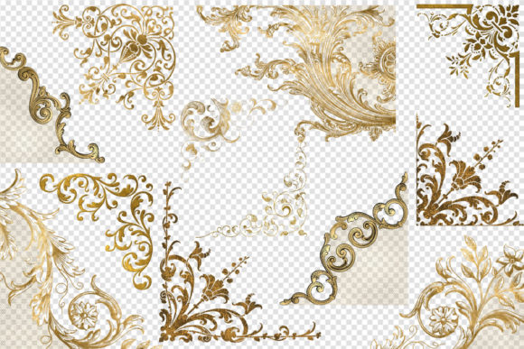 Print on Demand: Old Gold Corners Clipart Graphic Illustrations By Digital Curio - Image 2