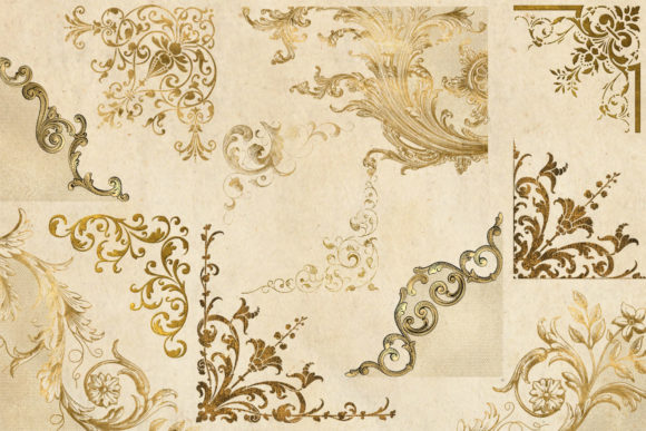 Print on Demand: Old Gold Corners Clipart Graphic Illustrations By Digital Curio - Image 3