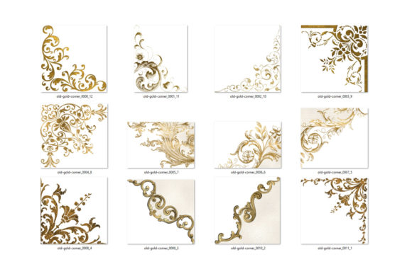 Print on Demand: Old Gold Corners Clipart Graphic Illustrations By Digital Curio - Image 4