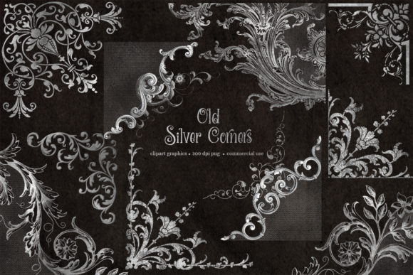 Print on Demand: Old Silver Corners Clipart Grafik Illustrationen von Digital Curio