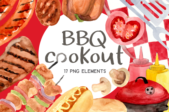 Print on Demand: Outdoor Barbecue Burgers Watercolor Set Graphic Illustrations By roselocket
