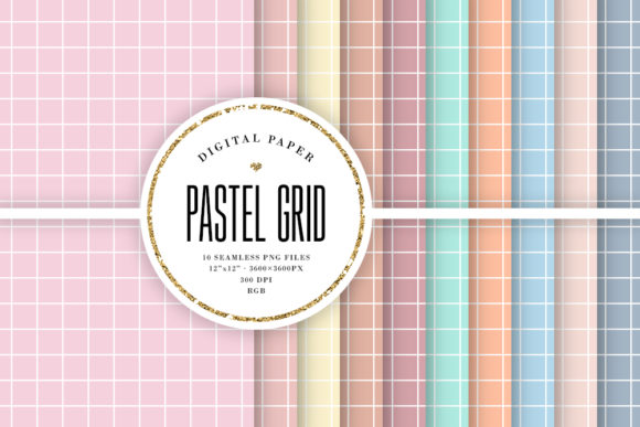 Print on Demand: Pastel Grid Seamless Digital Paper Grafik Muster von Sabina Leja