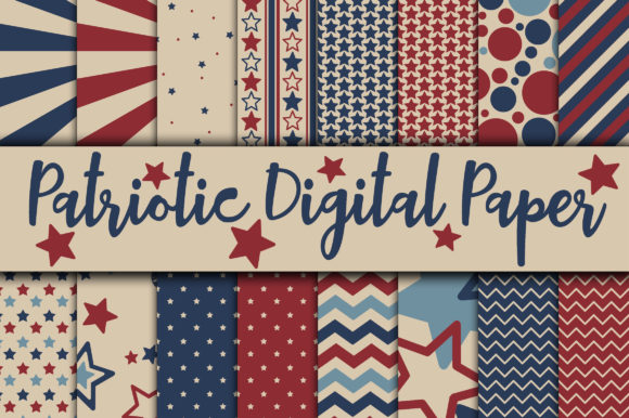 Print on Demand: Patriotic Digital Paper - 4th of July Gráfico Fondos Por oldmarketdesigns