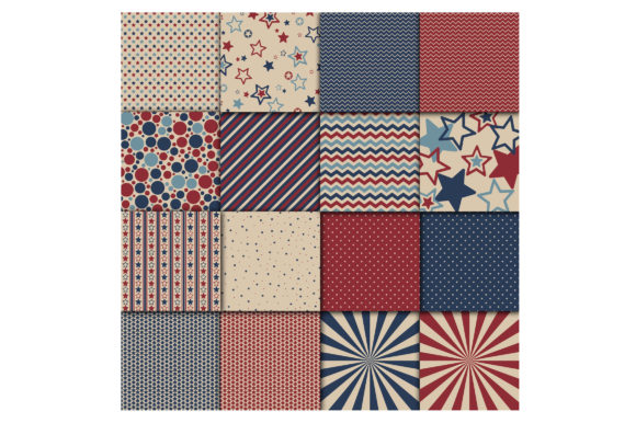 Print on Demand: Patriotic Digital Paper - 4th of July Graphic Backgrounds By oldmarketdesigns - Image 4