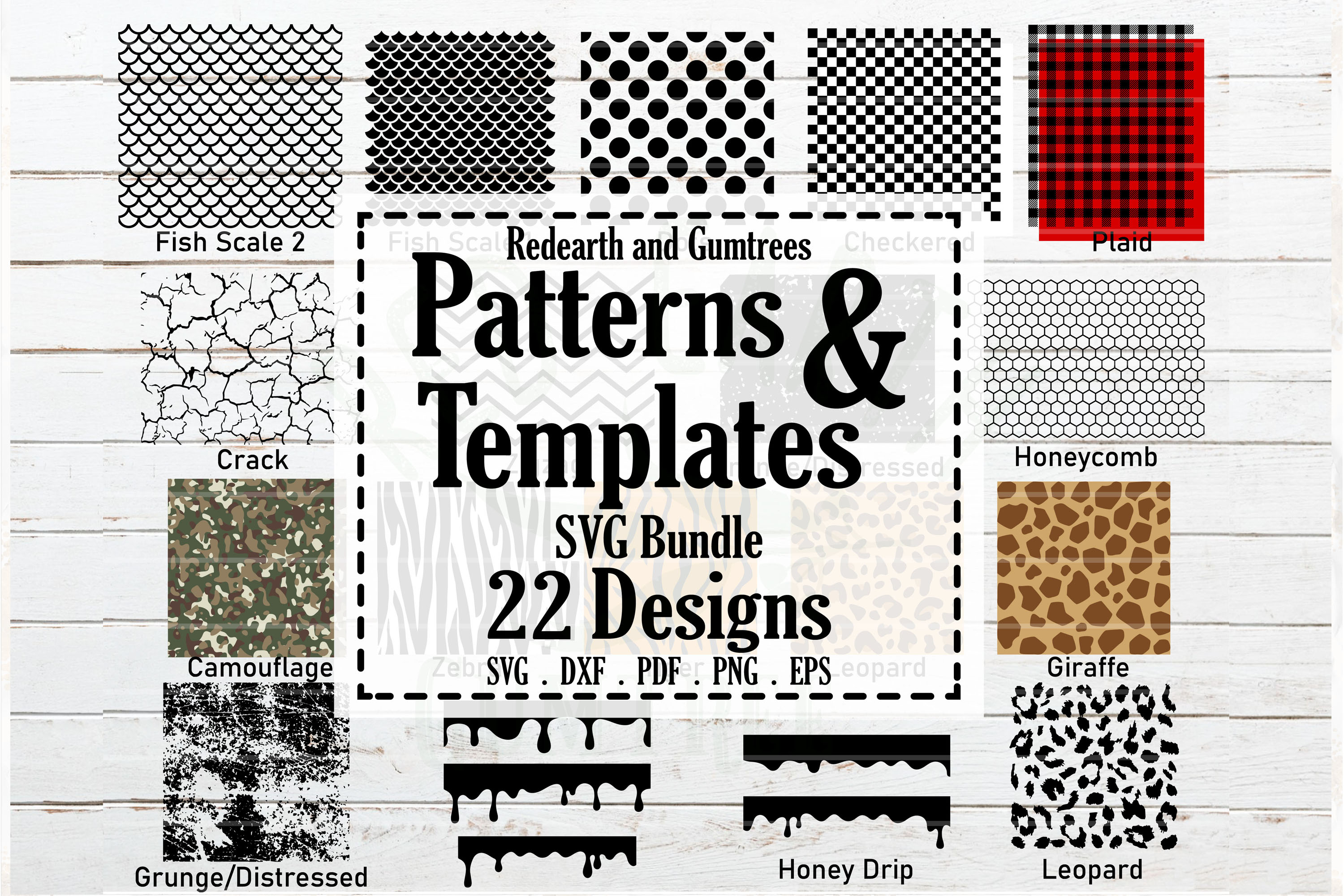 Download Free Patterns And Stencil Template Bundle Graphic By Redearth And for Cricut Explore, Silhouette and other cutting machines.