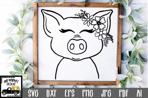Print on Demand: Pig File - Pig Face Cut File Graphic Crafts By oldmarketdesigns