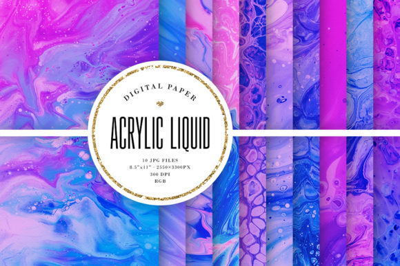 Print on Demand: Pink & Blue Acrylic Liquid Digital Paper Graphic Backgrounds By Sabina Leja