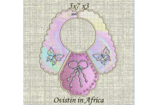 Pink Butterfly Baby Bib for Small Hoops Nursery Embroidery Design By Ovistin in Africa