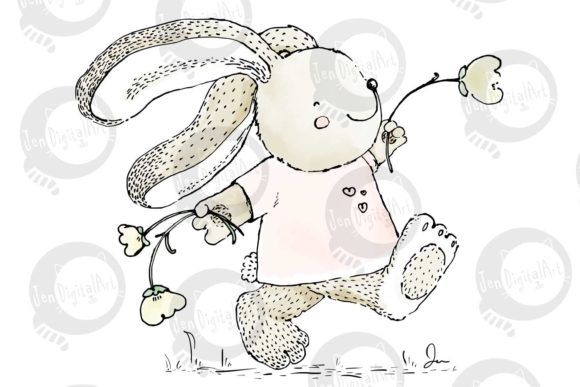 Download Free Rabbit Skipping With Flowers Graphic By Jen Digital Art for Cricut Explore, Silhouette and other cutting machines.
