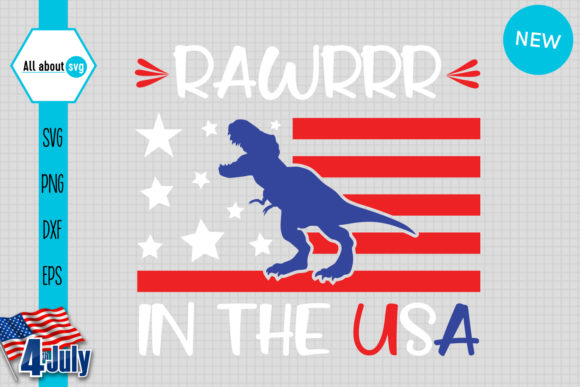 Download Free Rawr In The Usa T Rex Dinosaur Graphic By All About Svg for Cricut Explore, Silhouette and other cutting machines.