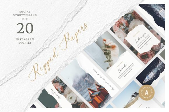 Ripped Papers — Instagram Templates Graphic Graphic Templates By Dmitry Mashkin