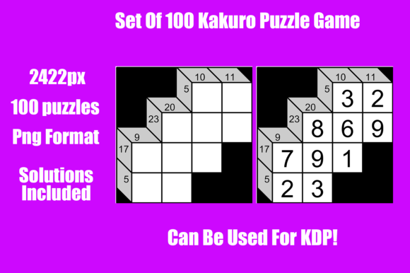 Download Free Set Of 100 Kakuro Puzzle Graphic By Gael Creative Fabrica for Cricut Explore, Silhouette and other cutting machines.