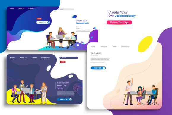 Set of Landing Page Design Templates Graphic Email Templates By OtpirusThree