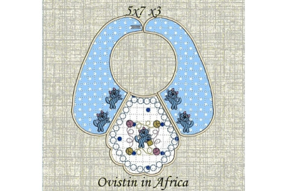 Blue Baby Bib for Small Hoops Nursery Embroidery Design By Ovistin in Africa