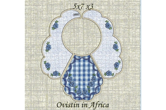Blue Floral Baby Bib for Small Hoops Nursery Embroidery Design By Ovistin in Africa