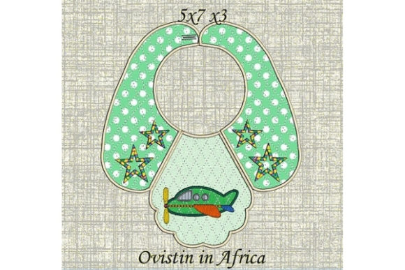 Green Plane Baby Bib for Small Hoops Nursery Embroidery Design By Ovistin in Africa
