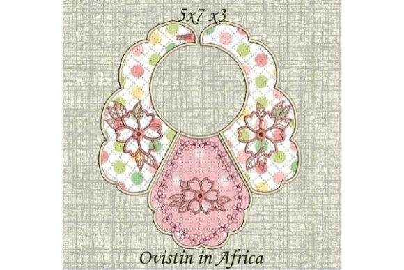 Pink Floral Baby Bib for Small Hoops Nursery Embroidery Design By Ovistin in Africa