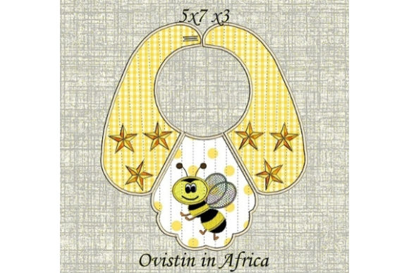 Yellow Bee Baby Bib for Small Hoops Nursery Embroidery Design By Ovistin in Africa - Image 1