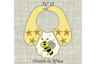 Yellow Bee Baby Bib for Small Hoops Nursery Embroidery Design By Ovistin in Africa